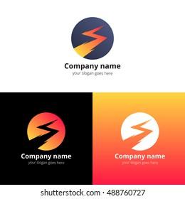Lightning bold, thunder bolt, zipper, lighting strike expertise vector logo, icon design template. Logotype lightning in circle with orange, red, white color.