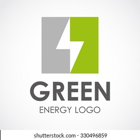 Lightning bolt of alternative green energy abstract vector and logo design or template electric technology business icon of company identity symbol concept