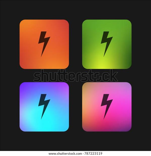 Lightning Bolt Black Shape Four Color Stock Vector Royalty Free 787223119