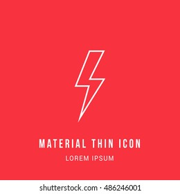 Lightning Bolt Bright red material designed line thin flat icon / logo