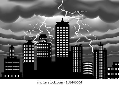 Lightning bolt at Building city