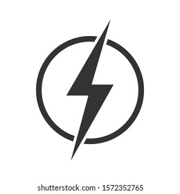 Lightning bolt in the circle graphic icon. Energy sign isolated on white background. Electric power symbol. Vector illustration