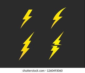 Lightning bolt, electricity power vector set