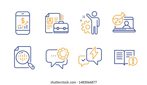 Lightning bolt, Employee and Analytics chart line icons set. Employees messenger, Mobile finance and Online chemistry signs. Vacancy, Facts symbols. Messenger, Cogwheel. Education set. Vector