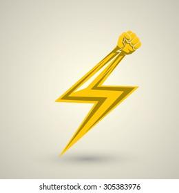 lightning bolt fist. vector fist icon. revolution fist. freedom concept.