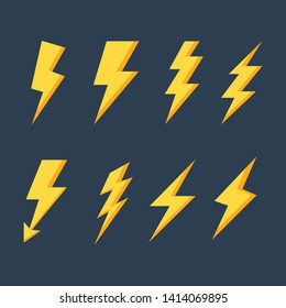 lightning bolt  flash icons set. electricity power. yellow thunder isolated on blue background. vector Illustration.