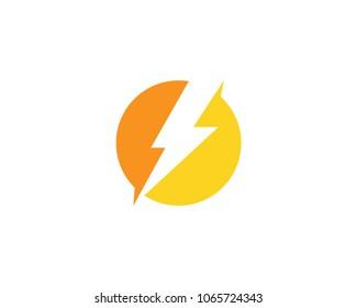 Lightning Bolt Flash Thunder In Circle Icon Vector Logo Template