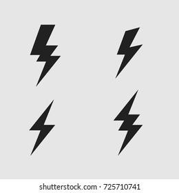 Lightning  bolt flat icons set flat design