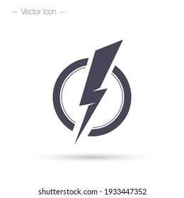Lightning bolt icon. Electric power vector logo design element.
