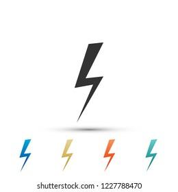 Lightning bolt icon isolated on white background. Flash icon. Charge flash icon. Thunder bolt. Lighting strike. Set elements in colored icons. Flat design. Vector Illustration