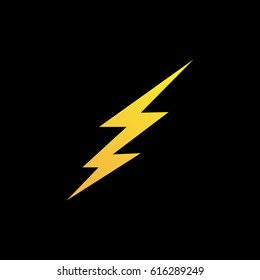 Lightning bolt icon or logo in modern flat style. High quality black outline thunderbolt pictogram for web site design and mobile apps. Vector illustration on a white background.