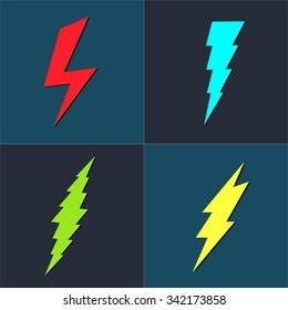 Lightning Bolt icon. Set of colored icons storm lightning. Thunderbolt silhouettes.