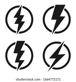 Lightning bolt icon set, Energy and thunder electricity symbol concept, Flash sign in the circle, vector Illustration