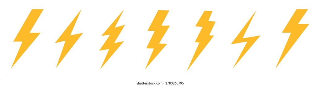Lightning bolt icon. Vector lightning logo electric, set of thunder and lightning . Lightning bolt signs, icons isolated over white background