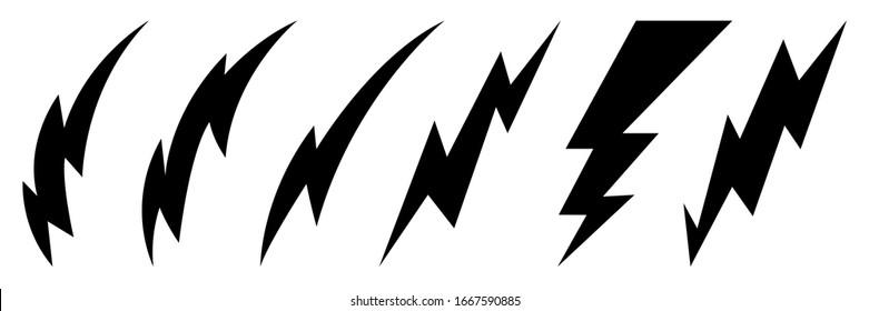 Lightning bolt icons set. Thunder hand drawn doodle. Vector illustration