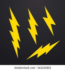 Lightning bolt icons set, thunderbolt vector illustration