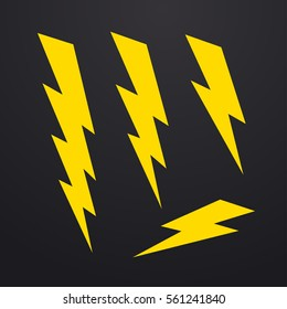 Lightning bolt icons set, thunderbolt vector illustration