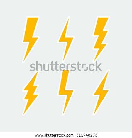 lightning bolt icons set thunderbolt sign or flash symbol isolated on grey background