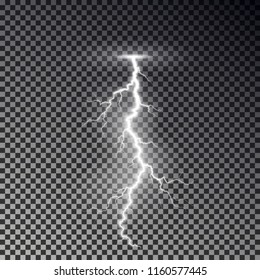 Lightning bolt isolated on dark checkered background. Transparent thunderbolt flah effect. Realistic lightning decoration pattern. Electric light on sky texture design. Editable vector illustration.