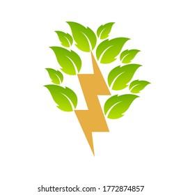 Blitzbolzen mit Blättern. Kreatives Symbolkonzept für erneuerbare Energien