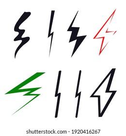 Lightning bolt logo icon sign Hand drawn art set Arrow symbol emblem Tech modern children's style Doodle design Fashion print clothes apparel greeting invitation card badge element banner poster cover