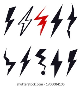 Lightning bolt logo sign icon Hand drawn doodle Modern creative design style Fashion print clothes apparel greeting invitation card picture banner badge poster flyer websites Vector Illustration