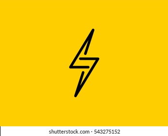 Lightning Bolt Minimal Simple Symbol. Creative  Flash Sign design Vector template. Energy Power Speed Logotype concept icon. Creative Line graphic element emblem