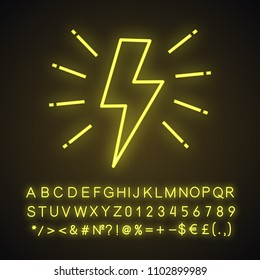 Lightning bolt neon light icon. Electricity sign. Speed and power. Glowing sign with alphabet, numbers and symbols. Vector isolated illustration
