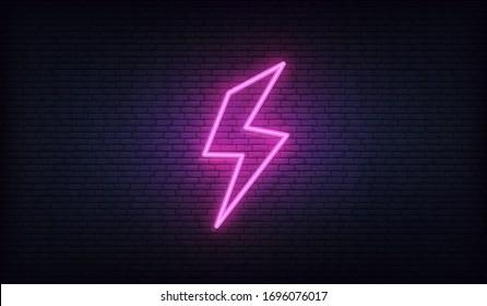Lightning bolt neon sign. Neon lightning, thunder and electricity