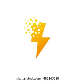 Lightning Bolt Pixel Symbol Vector