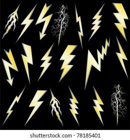 Lightning bolt set. Gold lightning with silver border. Vector.
