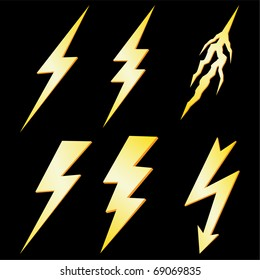 Lightning Bolt set isolated on Black VECTOR