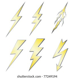 Lightning bolt set isolated on white