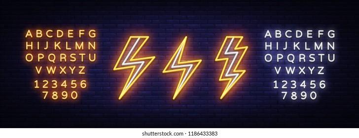 Lightning bolt set neon signs. Vector design template. High-voltage neon symbol, light banner design element colorful modern design trend, bright sign. Vector. Editing text neon sign