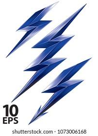 Lightning bolt set. Vector 3d illustration