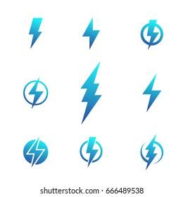 Lightning bolt signs, electricity symbols