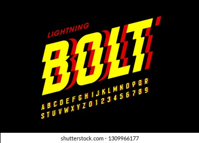 Lightning bolt style font design, alphabet letters and numbers vector illustration