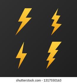 Lightning bolt. Thunder bolt, lighting strike expertise. Vector stock illustration.
