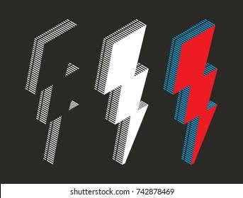 lightning bolt vector illustration on black background