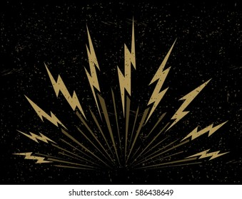 Lightning bolts bursting on dark background vector