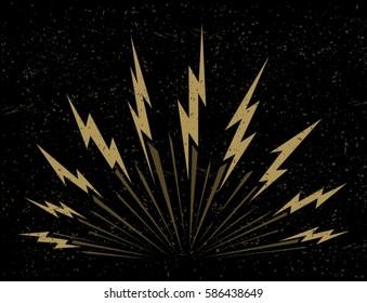 Lightning bolts bursting on dark background vector
