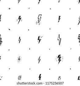 Lightning Bolts Vector Seamless Pattern. Repeat Background with Hand Drawn Doodle Lightning Bolt Signs, Thunderbolts, Energy Thunder bolt, Warning Symbol  illustration