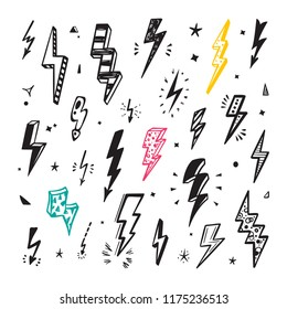 Lightning Bolts Vector Set. Hand Drawn Doodle Lightning Bolt Signs, Thunderbolts, Energy Thunder bolt, Warning Symbol illustration