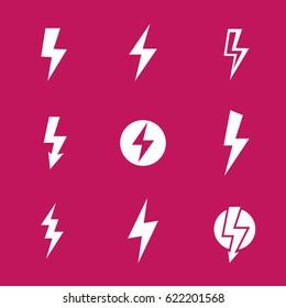 Lightning bolts, warning vector signs