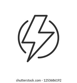 lightning in a circle. linear icon. Line with editable stroke