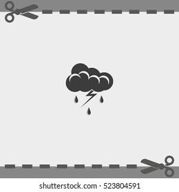 Lightning cloud icon. Thunderstorm sign.