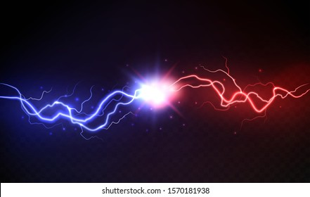 Lightning collision. Powerful colored lightnings, electric forces thunderbolt clash electrical energy sparkling blast, vector versus bright design confrontation concept