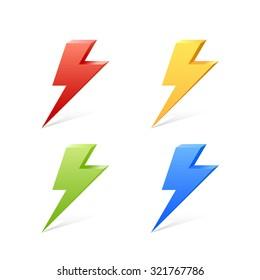 Lightning color set 3d. Vector illustration