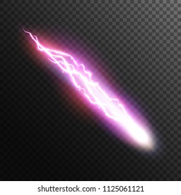 Lightning and electric comet. Electric discharge. Neon magic light.