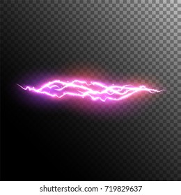 Lightning and electric effect. Electric discharge. Neon magic light.